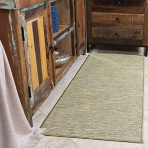 "Ottomanson Sundance Collection Reversible Outdoor Runner Rug, 2'7"" X 7', Green for $49"