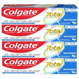 Colgate Total Whitening Toothpaste 4.8-Oz. Tube 4-Pack for $12