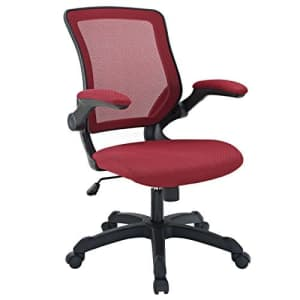 Modway Veer Office Chair with Mesh Back and Vinyl Seat With Flip-Up Arms in Red for $180