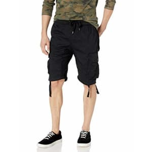 Southpole Men's Jogger Shorts with Cargo Pockets in Solid and Camo Colors, Black(New), Medium for $29