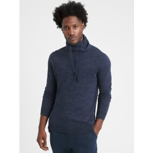 Banana Republic Men's Organic Cotton Funnel-Neck Sweater for $16