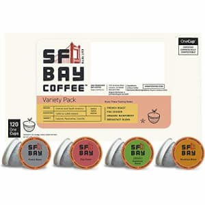 SF Bay Coffee Variety Pack 120 Ct Compostable Coffee Pods, K Cup Compatible including Keurig 2.0 for $52