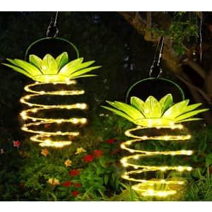 JSOT Hanging Solar Pineapple LED Lights 2-Pack for $26