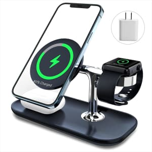 MakaQI 3-in-1 Magnetic Wireless Charger Station for $16