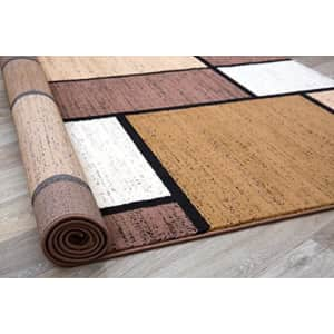 """Rugshop Contemporary Modern Boxes Area Rug 3'3"""" x 5'3"""" Brown for $60"""