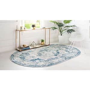 Unique Loom Sofia Collection Traditional Vintage Blue/Light Blue Oval Rug (3' 3 x 5' 3) for $58