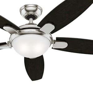 Hunter 54 in. Contemporary Ceiling Fan in Brushed Nickel with LED Light and Remote Control (Renewed) for $101