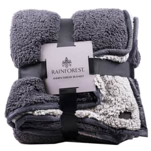 RainForest Sherpa 2-Ply Throw Blanket for $13
