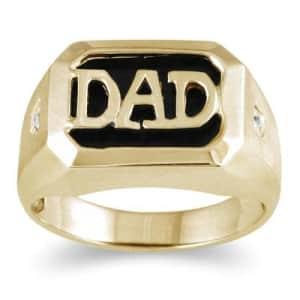 Szul Onyx & Diamond Dad Ring in 10K Yellow Gold for $348