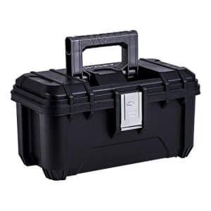 Husky 16 in. Plastic Tool Box with Rugged Metal Latch (1.6 mm) and Ample Storage Capabilities in for $28