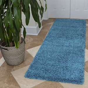 Ottomanson Soft Cozy Color Solid Shag Runner Rug Contemporary Hallway and Kitchen Shag Runner Rug, for $79