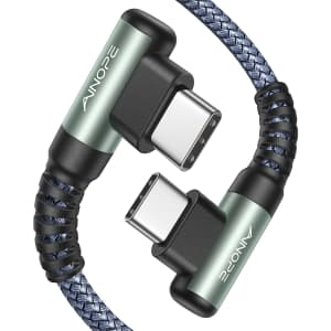 Ainope 6.6-Foot USB-C to USB-C Dual 90 Degree Cable 2-Pack for $12