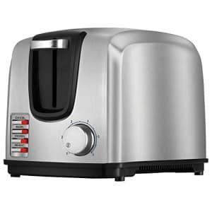 Black + Decker BLACK+DECKER 2-Slice Toaster, Modern, Stainless Steel, T2707S,Silver for $45