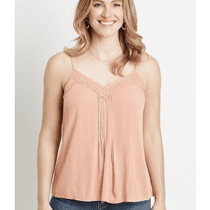 Maurices Women's Lace Trim V-Neck Pleated Tank Top for $8