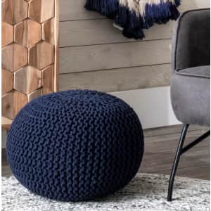 nuLOOM Ling Knitted Round Ottoman Pouf for $59