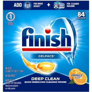 Finish All-in-1 Gelpacs Dishwasher Detergent Tablets 84-Count Tub for $11