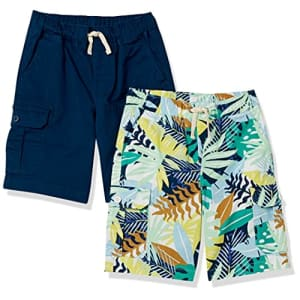 Amazon Essentials Boys Cargo Shorts, 2-Pack Navy/Tropical, 3T for $17