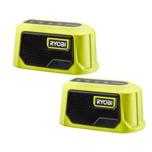 Ryobi ONE+ 18V Cordless Compact Bluetooth Speaker 2-Pack for $25