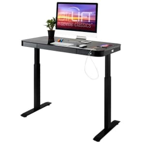 """Seville Classics AirLift 48"""" Electric Height-Adjustable Standing Desk w/ Glass Top & USB for $280"""