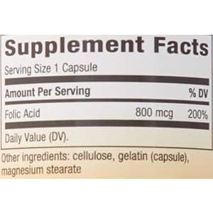 Nature's way folic Acid - 800 mcg - 100 Capsules, 100 Count for $10