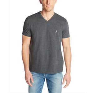 Nautica Men's Short Sleeve Solid Slim Fit V-Neck T-Shirt, Charcoal Heather, XX-Large for $20