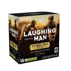 Laughing Man Columbia Huila, Single-Serve Keurig K-Cup Pods, Dark Roast Coffee, 16 Count for $27