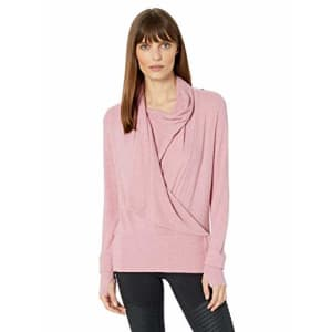 Splendid Women's Studio Activewear Workout Convertible Long Sleeve Wrap Top, Rose, L for $23