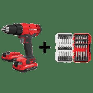 "Craftsman 20V Max 1/2"" Cordless Drill w/ Screwdriver Bit Set & 2 Batteries for $89"