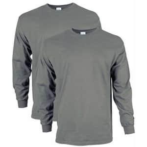 Gildan Men's Ultra Cotton Adult Long Sleeve T-Shirt, 2-Pack Shirt, -Charcoal, Small for $33