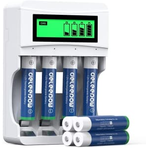Deleepow AAA Rechargeable Battery 8-Pack w/ Charger for $12