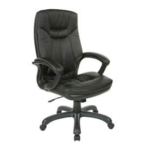 Office Star Bonded Leather Seat and High Back Executive's Chair with Padded Arms and Contrast for $219