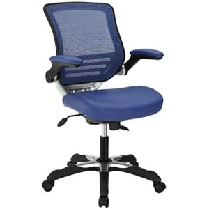 Modway Edge Mesh Back and White Vegan Leather Seat Office Chair With Flip-Up Arms-Computer Desks in for $201