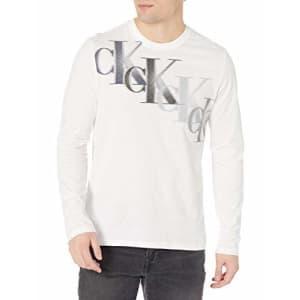 Calvin Klein Men's Long Sleeve Logo T-Shirt, Brilliant White Legacy, Large for $24