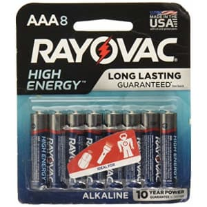 Rayovac AAA Batteries 8-Pack for $18