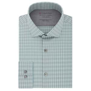 """Calvin Klein Men's Dress Shirt Xtreme Slim Fit Thermal Stretch Check, Olive, 17""""-17.5"""" Neck 32""""-33"""" for $40"""