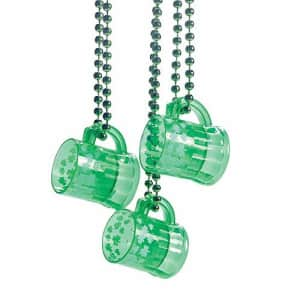 Fun Express Green Shot Glass Bead Necklaces - Set of 12 - St. Patrick's Day and Mardi Grad Party Supplies for $19