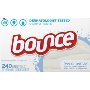 Bounce Free & Gentle Fabric Softener Sheets 240-Ct. Box for $10