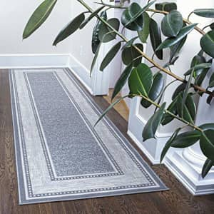 """Ottomanson Collection Contemporary Ottohome Bordered Runner Rug, 2'7"""" x 9'10"""", Grey for $48"""