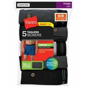 Hanes Men's Tagless ComfortSoft Knit Boxers 5-Pack: 2 for $19 in cart