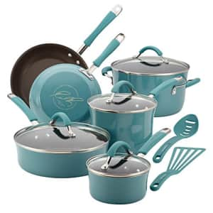 Rachael Ray Cucina Nonstick Cookware Pots and Pans Set, 12 Piece, Agave Blue for $140