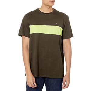 A|X Armani Exchange Men's Logo Single Stripe Cotton Jersey Short Sleeve Shirt, Truffle/Acid Lime, for $47
