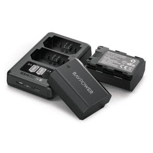 RAVPower Replacement Battery for Sony Cameras 2-Pack with Charger for $19