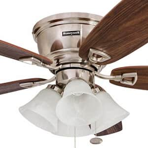 Honeywell 50182 Quick-2-Hang Hugger Ceiling Fan, 52 Dimmable LED White Swirled Marble Fixtures, for $97