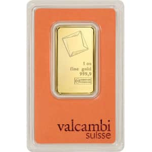 Valcambi Suisse 1-oz. Gold Bar w/ Assay Card for $1,965
