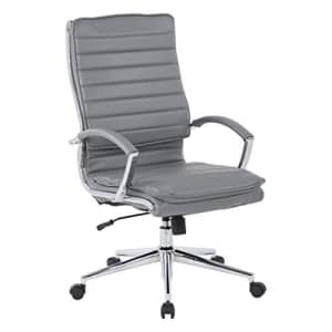 Office Star Faux Leather High Back Managers Chair with Loop Arms and Chrome Base, Charcoal for $278