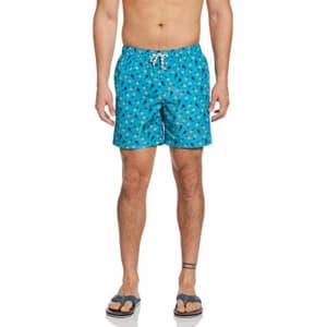 Original Penguin Men's Printed Elastic Waist Volley Swim Short, Caribbean sea Pineapple, Large for $44
