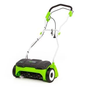 "Greenworks 14"" Corded Electric Dethatcher for $100"