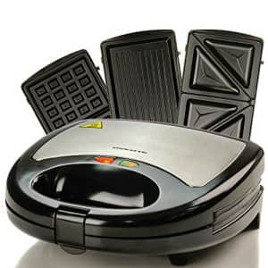 Ovente Electric Sandwich Grill Waffle Maker Set with 3 Removable Nonstick Cooking Cast Iron Toaster for $38