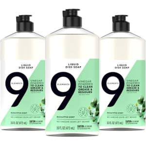 9 Elements Dishwashing Liquid Dish Soap 16-oz. Bottles 3-Pack for $8 via Sub & Save