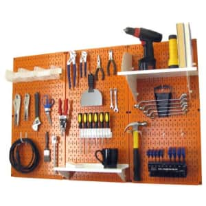 Pegboard Organizer Wall Control 4 ft. Metal Pegboard Standard Tool Storage Kit with Orange for $128